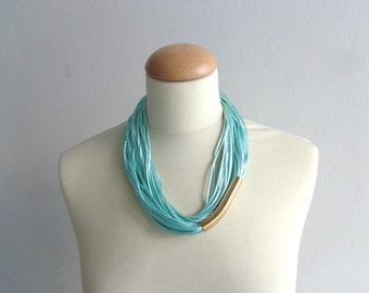 Teal turquoise gold necklace