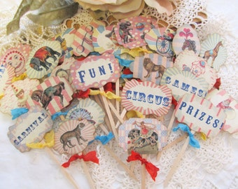 Vintage Carnival Circus Cupcake Toppers - Set of 12 or 18 - Choose Ribbons - Circus Birthday Vintage Style