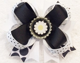 Black and White Bow Boutique Hair Bow Polka Dot Hair Bow Black Hair Bow Barrettes and Bows