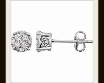 Illusion Cluster Diamond Stud Earrings, Look 2x Larger - 14k White Gold, I3 H-J