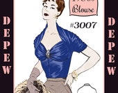 Vintage Sewing Pattern 1950's Ladies' French Draped Blouse Multi Size Depew 3007 -INSTANT DOWNLOAD-