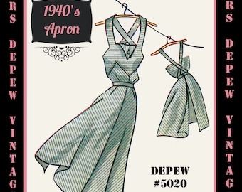 Vintage Sewing Pattern 1940's Apron in Any Size - PLUS Size Included - Depew 5020 -INSTANT DOWNLOAD-