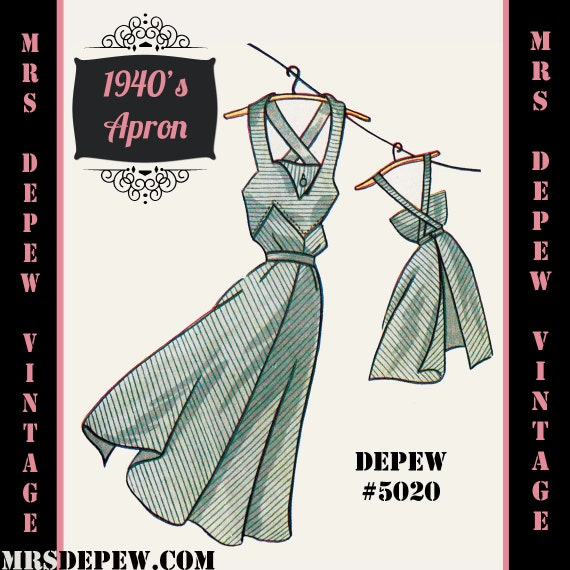 Vintage Aprons, Retro Aprons, Old Fashioned Aprons & Patterns 1940s Apron in Any Size - PLUS Size Included - Depew 5020 -INSTANT DOWNLOAD- $7.50 AT vintagedancer.com