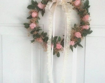 Front door Wreath Blush Pink peach rosebuds dried silk flowers Home Decor decoration fireplace bedroom wall hanging send flowers gift