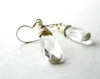 Clear Glass Sterling Silver Earrings Wire Wrapped Dangle Earrings Briolette Earrings