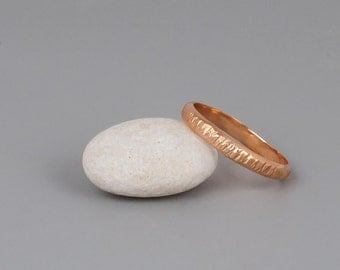 Rose Gold Stack Ring, Rose Gold Wedding Band, 3mm Wedding Ring, Mans Wedding Band, Womens Wedding Ring, Simple Ring, Hammered Band, Stacking