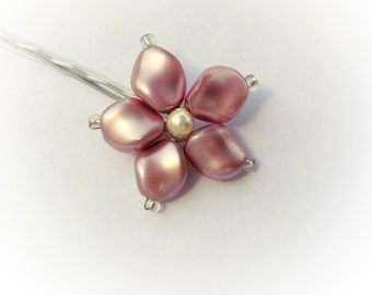 Pearl Flower Bridal Pin - Rose Gold, Ivory White, Cream Swarovksi Pearl Bobby Pin Slide