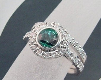 AAAA Blue Green Indicolite Tourmaline   5.0mm  .55 Carats   14k White Gold Wedding Bridal Set with .50 carats of diamonds. 462D