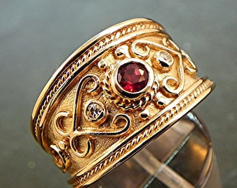 AAA Red Rubellite Tourmaline   3.85mm  .37 Carats   in 14K Yellow gold diamond ring (.06 carats) MMM