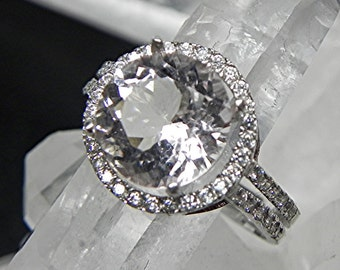 AAA light Pink Morganite   10mm  3.13 Carats   14K White gold and diamond Halo ring 0123 y