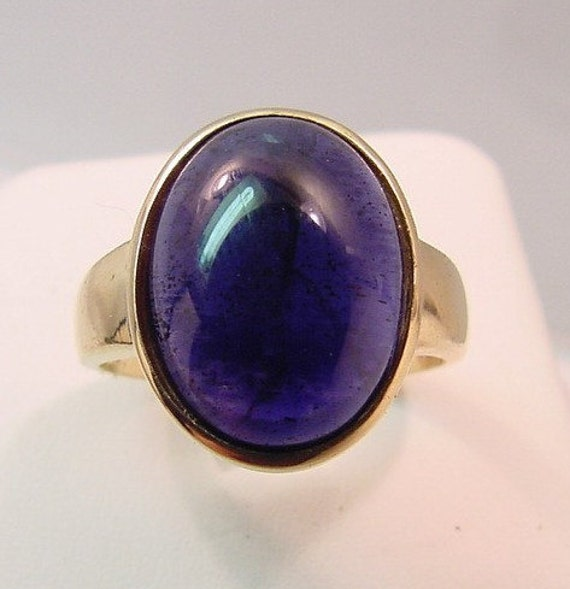 Iolite in 16x12mm 7.12 carat 14K yellow gold ring, also available in White gold 0250 MMM