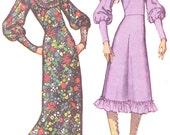 1970s Dress Pattern Simplicity 9454 Ruffled Hem Boho Midi or Maxi Granny Dress Wide Brim Hat Womens Vintage Sewing Pattern Bust 34