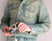 Vintage Benetton kids jean jacket size 8 distressed denim