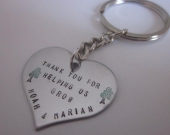 Thank You For Helping Me Grow Keyring Key Chain handstamped onto Stainless steel heart Teacher, Nanny, Day Care, Baby Sitter Gift