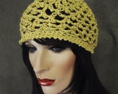 Gold Cotton Skull Cap, Crochet Skull Cap, Cotton Yarn/ Beanie/Skull Cap/ Women's Hat, Spring Hat, Summer Hat