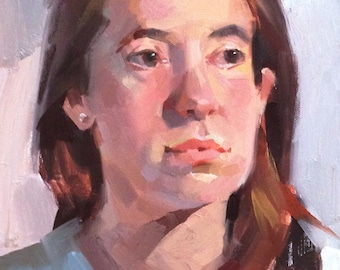 "Sale! Art Painting Portrait ""Lauren"" original oil on canvas by Sarah Sedwick"