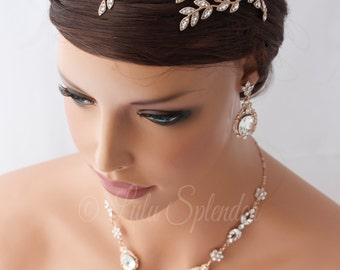 Rose Gold Bridal Headband Crystal Leaf Wedding Headband Side Tiara Head Piece Wedding Hair accessories Swarovski Rhinestone Headpiece NEVE