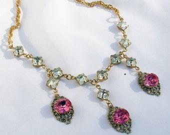 Shabby Chic Pink Glass Jewel Filigree Necklace