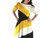 70's FREDERICK'S of HOLLYWOOD Color block Day Secretary Dress w Princess Sleeves Size 9 MEDIUM