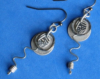 Earrings Dangle silver metalwork Oxidized matte finish Soldered ring Round disk Four layers of defined design
