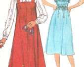 1970s Sundress Pattern Sewing Simplicity Jumper Ruffled Women's Misses Size 14 Bust 36 Inches