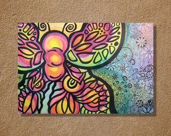 """Funky Butterfly Watercolor and Ink Painting Drawing 12"""" x 18""""  Wall Art"""