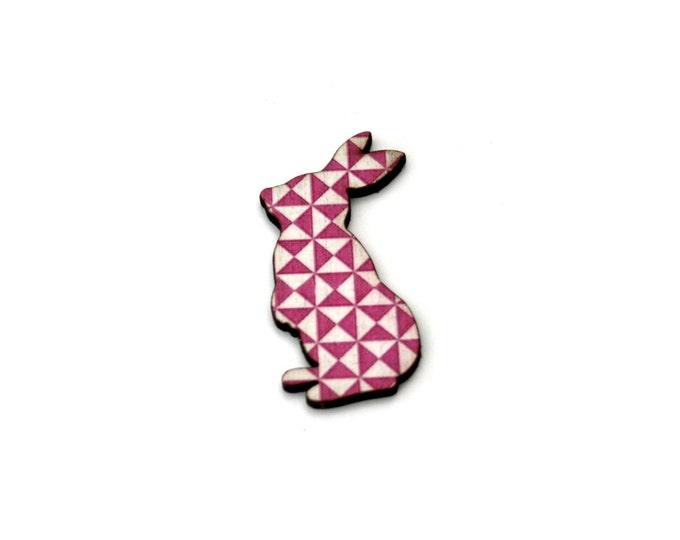 Rabbit Brooch, Easter Bunny, Geometric Illustration, Wood Jewelry, Animal Brooch