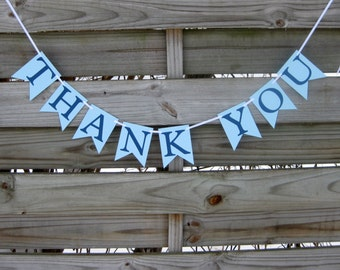Thank You Banner in Blue - wedding thank you photo prop