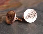Bronze Cuff Links Textured with Western Yarrow, Kansas Prairie Jewelry