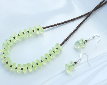 SET - Lemon Yellow & Brown Necklace and Earrings