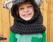 Wolf Hoodie, Kids Wolf Hood, Adult Hood, Knit Hood, Pullover Hood Cowl, Animal Hoodie, Halloween Costume