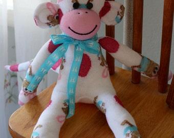 Easter Sock Monkey Doll Bunny Egg design, Ready to Ship!