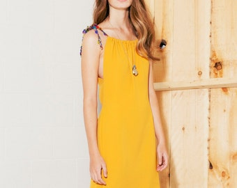 Women Dress saffron yellow with silk cords ON SALE