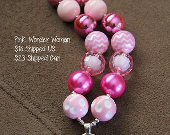 SALE 25% off! Pink Wonder Woman Chunky Bubblegum Necklace RTS