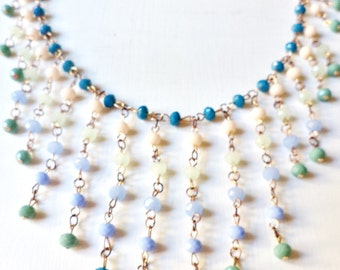Handmade Cascading Beaded Violet White Turquoise and Green Necklace
