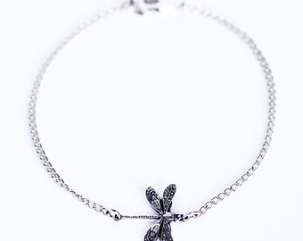 Delicate minimal silver dragonfly charm bracelet on silver chain
