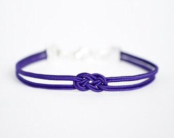 Deep purple delicate minimal petite double infinity knot soutache braid rope bracelet