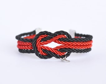 Black and red forever knot nautical rope bracelet with petite silver anchor charm