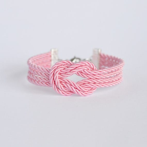 Light pink forever knot nautical rope bracelet with silver anchor charm