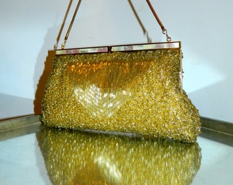 vintage 50s gold evening bag Mr. John beaded purse Mother of Pearl clasp