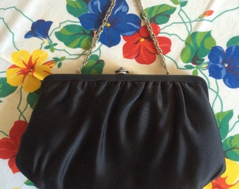 Out on the Town: Vintage Black Evening Handbag Clutch with Silver Chain and Closure