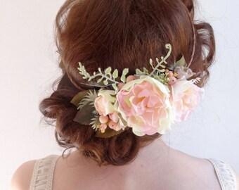 flower crown wedding, floral crown, blush flower crown, pink peony hairpiece, bridal headpiece, pink floral crown, wedding headpiece