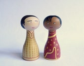 Custom couple portrait ethnic traditional dress - FREE SHIPPING Personalized - Wooden art doll hand painted Indian sari dhoti