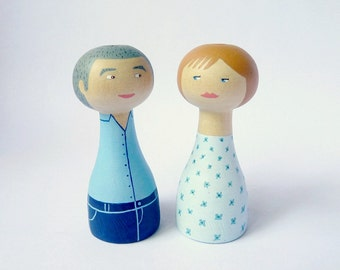 Personalized couple granparents portrait wedding anniversary - FREE SHIPPING Personalized - Wooden art doll hand painted blue teal aqua
