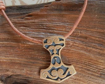 Bronze Thor's Hammer Pendant with Face