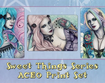 Sweet Things Series ACEO Prints Bubblegoth Cupcake Candy Ice Cream Tattoos Artist Trading Cards ATC Fantasy Colorful - Individually or Set