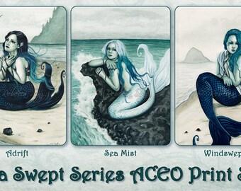 Sea Swept Series ACEO Prints Mermaids Fantasy Art Artist Trading Cards ATC Fantasy Art Beach Turquoise Teal - Individually or Set