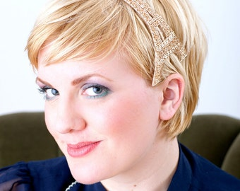 Eiffel Tower Champagne Beaded Headband