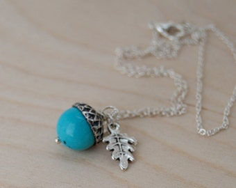 Turquoise and Silver Acorn Necklace | Gemstone Acorn Necklace | Nature Jewelry | Cute Acorn Charm Necklace | Something Blue Jewelry