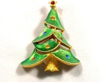 Vintage Christmas Tree Pin by JJ Jonette Jewelry Green Enamel & Rhinestones